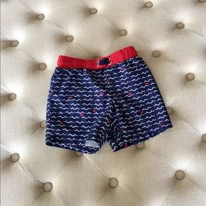 Boys Blue, White, and Red Swim Trunks 4T